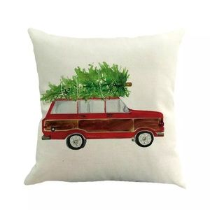 Vintage VW Christmas Tree Burlap Throw Pillow Case